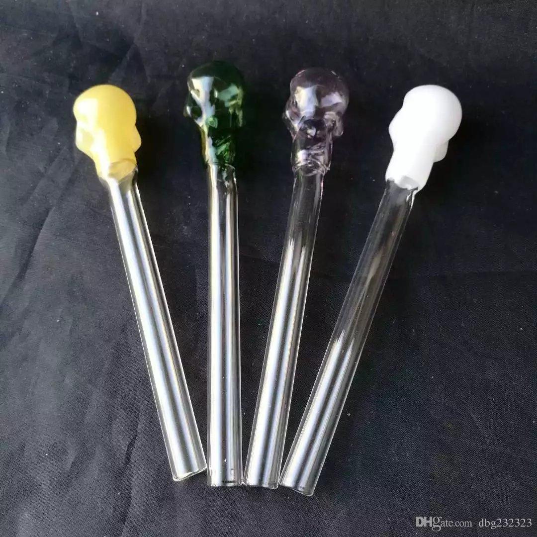 Tuyau en verre coloré bon marché crâne fumer poignée tuyaux courbés mini 6 pouces fumer des tuyaux à la main soufflé recycleur meilleur brûleur à mazout