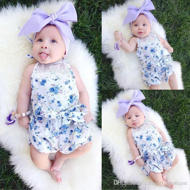 HUG ME 2017 INS hot baby kids Summer clothes clothing Rose floral Romper Lace romper onesies jumpsuits diaper covers bloomers Hollow Cute