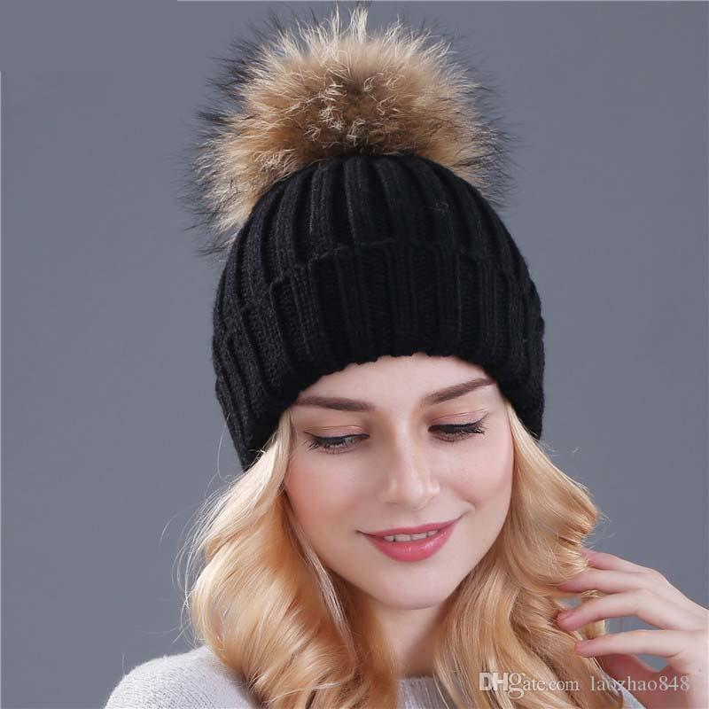 ac30639f7f6eee mink and fox fur ball cap pom poms winter hat for women girl 's hat knitted  beanies cap brand new thick female cap