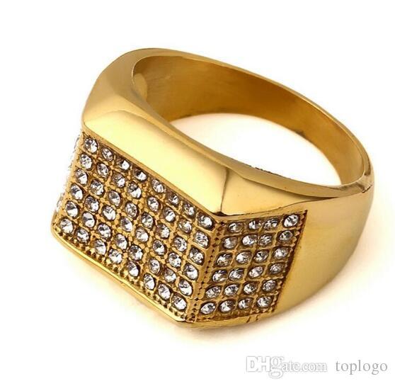 American Tide Brand Hip Hop Gold Ring Man Stainless Steel Rings