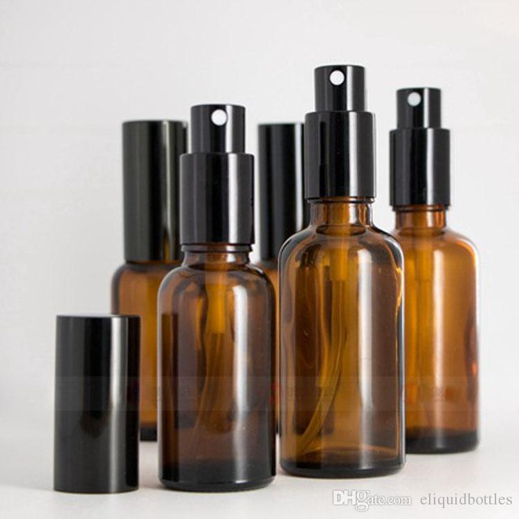 Atacado -30 ml -50 ml frascos de vidro âmbar pulverizador para óleo essencial de perfume garrafas de spray de água marrom escuro recipientes cosméticos