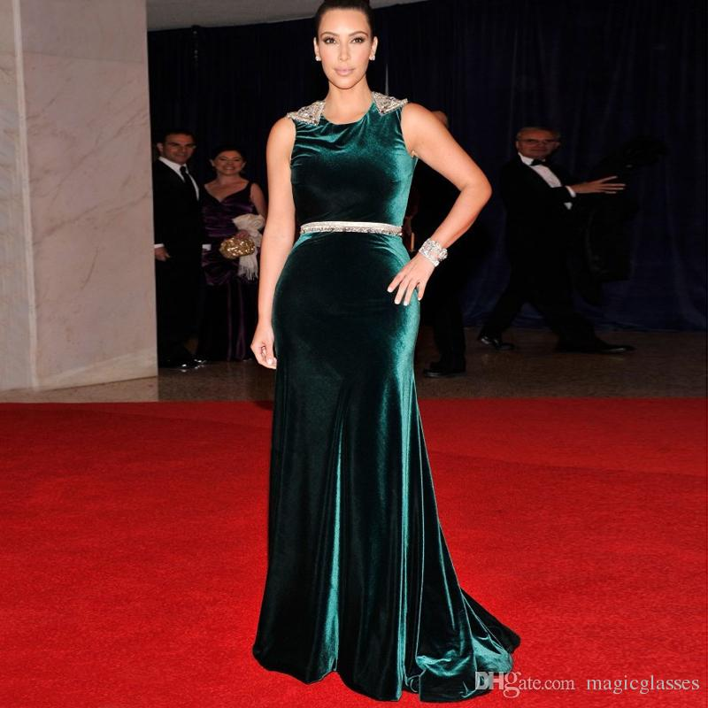 Kim Kardashian Velvet Evening Dresses Mermaid Jewel Neck Open Back Crystal Beaded Sash Sleeveless Red Carpet Celebrity Party Dresses