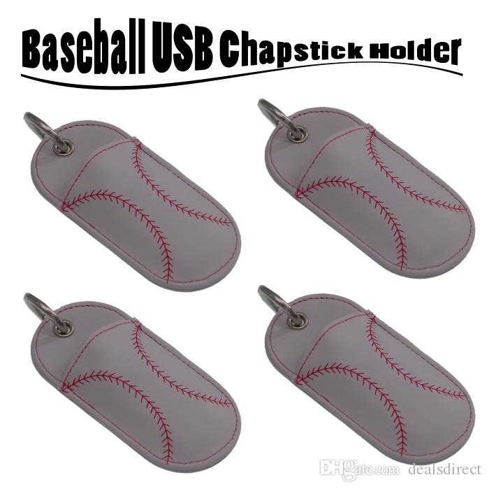 Beyzbol Softbol Chapstick Deri Sahipleri anahtarlık