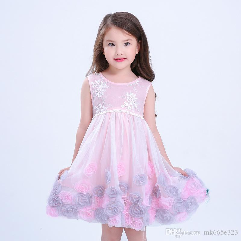 d3173f339 2019 2017 Kids Clothes Girls Dresses Stereo Flower Embroidery Lace ...