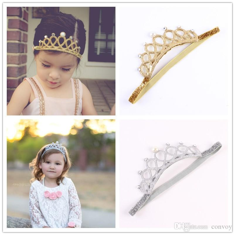 Baby Headbands Princess Tiara Headband Gold Silver Color Girls Kids Crown  Sparkle Elastic Hairbands Rhinestone Pearl Luxury Headwear KHA159 Hair  Accessories ... 89f3bfaf98f