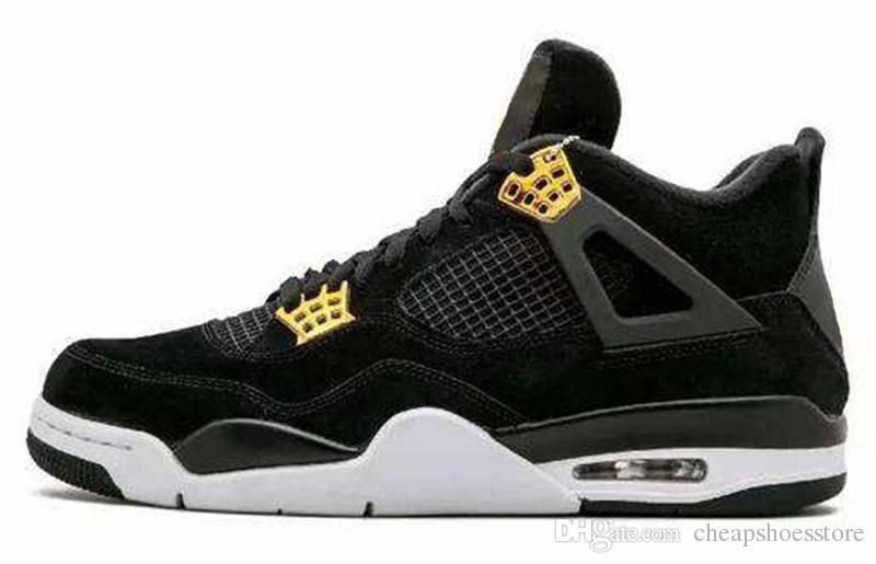 a2439dc7a4b96b New 4 Royalty Suede Black Gold Men Basketball Shoes 4s Royalty Black Suede  Sports Sneakers High Quality With Shoes Box Jordans Running Shoes From ...