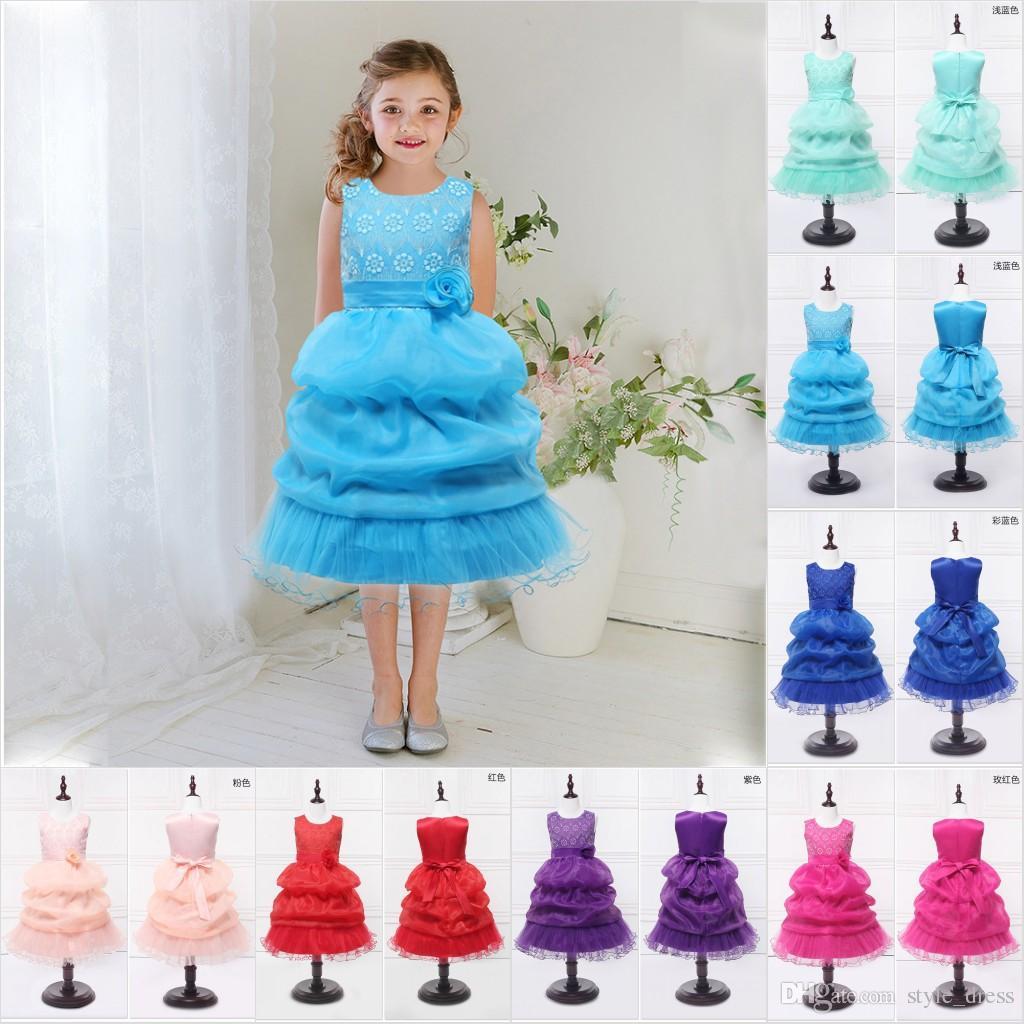 Großhandel 3 14 Jahre Teenager Blumen Mädchen Kleid Prinzessin ...