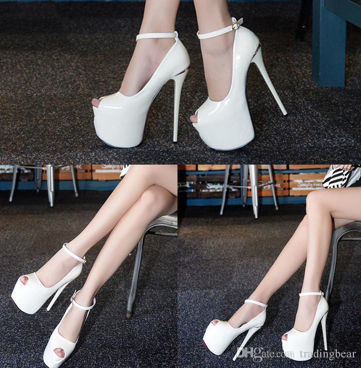 Kırmızı Alt Ultra Platformu Yüksek Topuklar Kadın Beyaz Patent PU Deri Düğün Ayakkabı Boyutu 34 39 için 17cm
