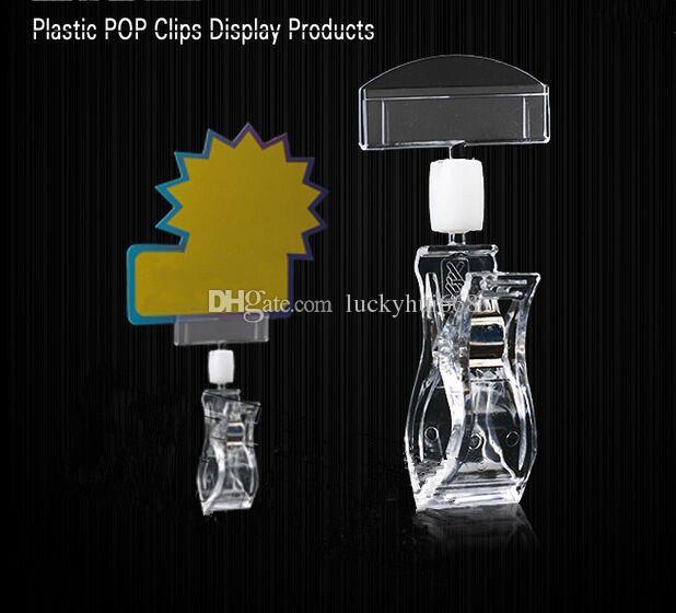 O envio gratuito de Limpar POP Plástico Sinal de Exibição de Cartão de Papel Preço Tag Etiqueta Promoção Clipes Titulares No Supermercado Vende