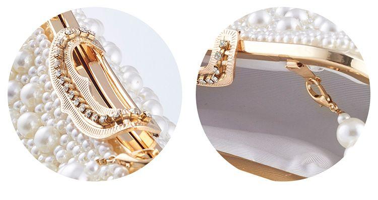 أزياء اليد النقي بوتيك الزفاف العروس بيرل حقيبة يد العشاء اللباس اللباس حقيبة مائل عبر حزمة