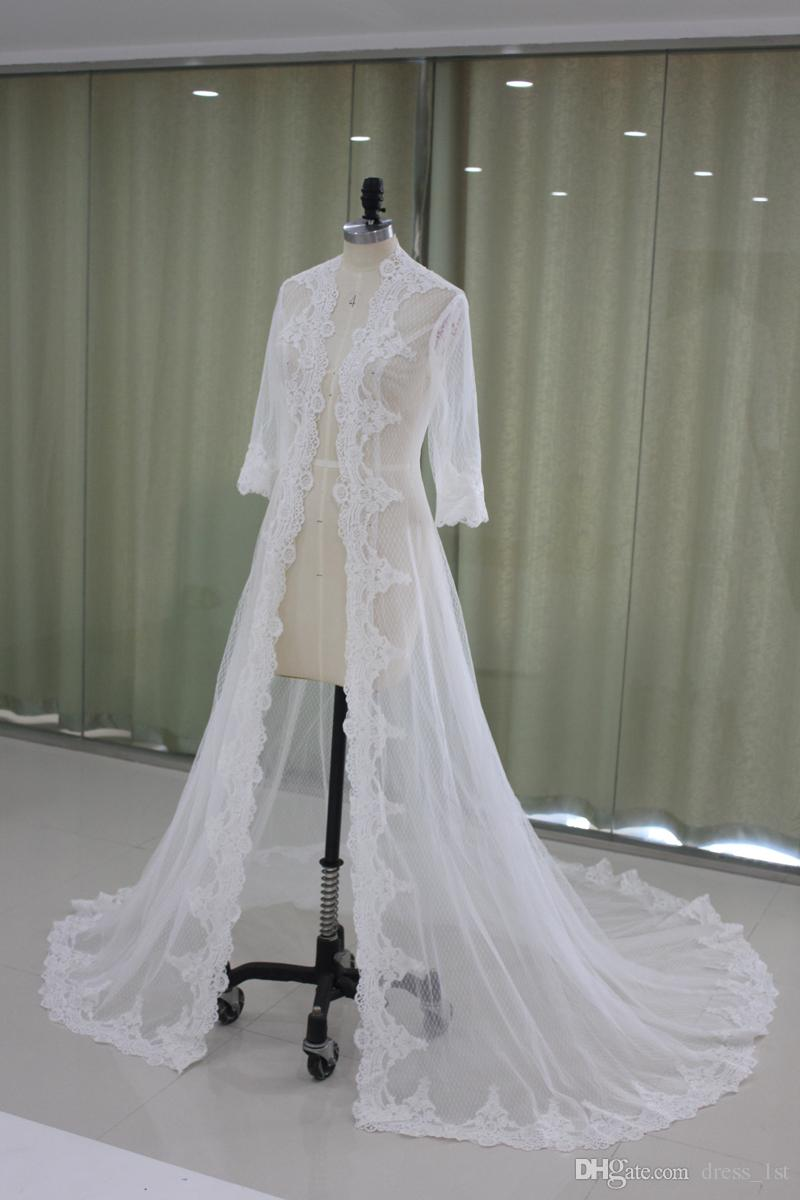 2019 Lace Appliqued Bridal Jacket Long Sleeves A Line Court Train Ivory Tulle Wedding Dress Jacket Cape Coats EN9145