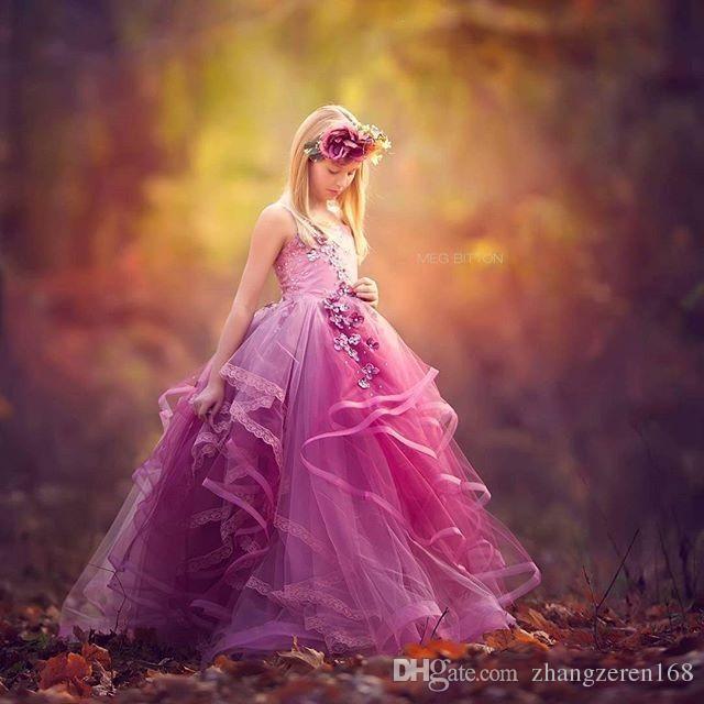 Agradável flor vestidos da menina vestido de baile 2017 top espaguete tule vestido de baile tiras até o chão vestido de casamento pageant vestidos para crianças