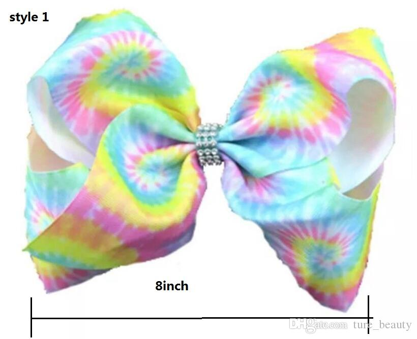 6style available ! JoJo Style Large 8 inch Pastel Rainbow grosgrain ribbon hair clip Hair Bow Dance Cheer Hair accessories 12pcs/