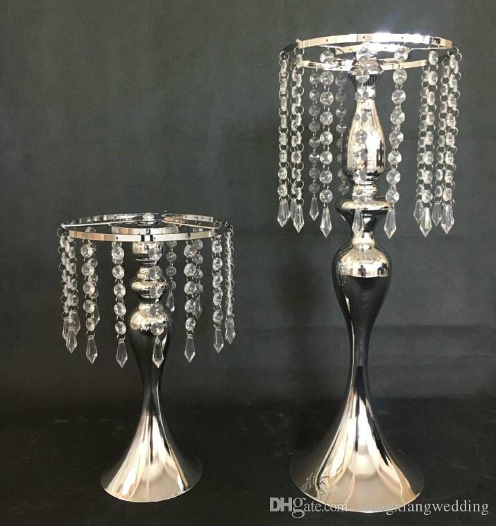 Rhinestone Candelabra For Wedding Party Elegant Candle Holder Pretty Table Centerpiece Vase Stand Crystal Candlestick Wedding Decoration