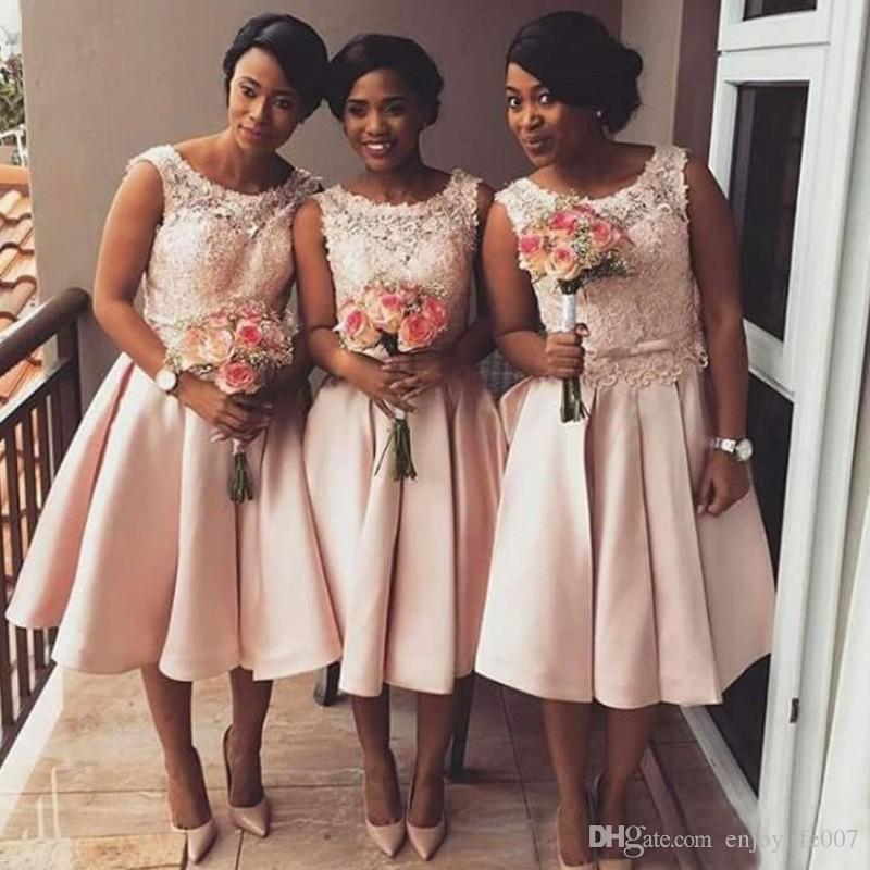 Cheap Blush Pink Lace Short Bridesmaid Dresses 2017 African Beach Maid Of Honor Gowns Junior Formal Wedding Guest Wear Tea Length And