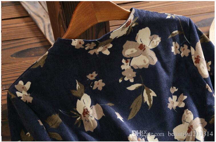 Femmes Vintage Vestidos 2017 Nouveau Printemps Automne Femmes À Manches Longues Robe En Velours Côtelé Femelle Genou Longueur Robes Florales