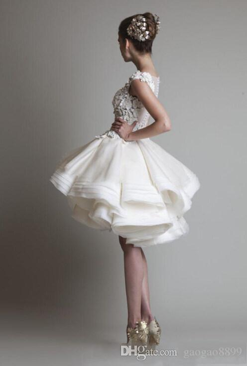 Elegant 2019 A Line Short Wedding Dresses Scoop Sleeveles Zipper Mini Tiered with Lace Appliques krikor jabotian Beach Bridal Gowns