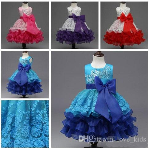 b9774e56ed 2017 summer girls party dress sleeveless tutu dresses kids gown baby prom  dress with big bow and sequins baby girl s lace dress