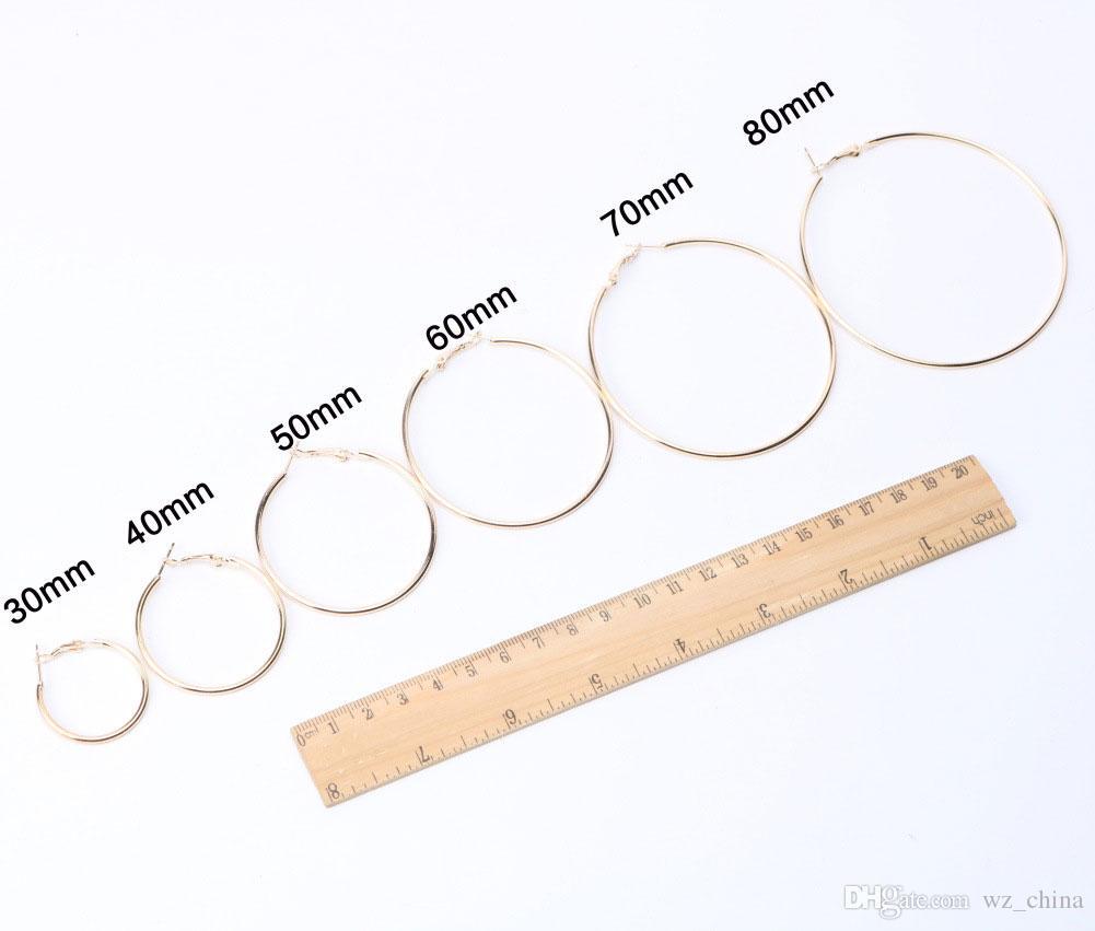 여성 실버 골드 컬러 30mm 40mm 50mm 60mm 70mm 80mm 90mm 100mm 볼 아내 귀걸이 새로운 핫 대형 후프 귀걸이
