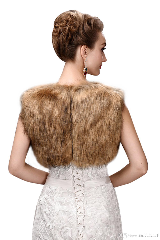 Stok Kahverengi Faux Kürk Kısa Ceketler Kış Özel Günler Kollu Ucuz Kadınlar Düğün Sarar 2018 Online Satış CPA970
