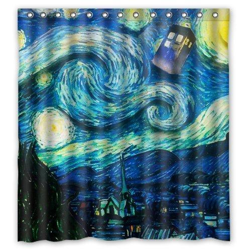2019 Tardis Doctor Who Starry Night Fans Custom Printed Size 66x72 Inches 100 Waterproof Polyester Shower Curtain From Dhkey2014 3517