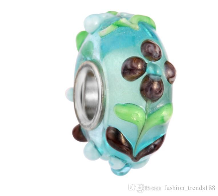 Mixed 925 Sterling Silver Core Blue Flower Murano Lampwork Glass Charm Beads For Pandora European Jewelry Charms Bracelet DIY Woman
