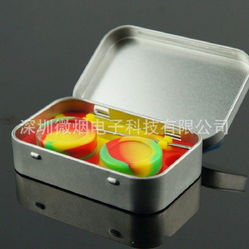 10ml Antiadherente Frascos de silicona Dab cera Envase de gel de sílice en caja de lata de acero inoxidable, caja de varios colores, fácil de transportar 8k D