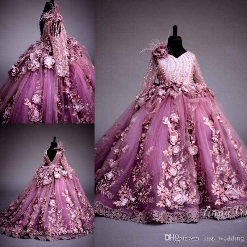 Compre Hermosa Flores Hechas A Mano Prom Dresses Niñas Cristales ...