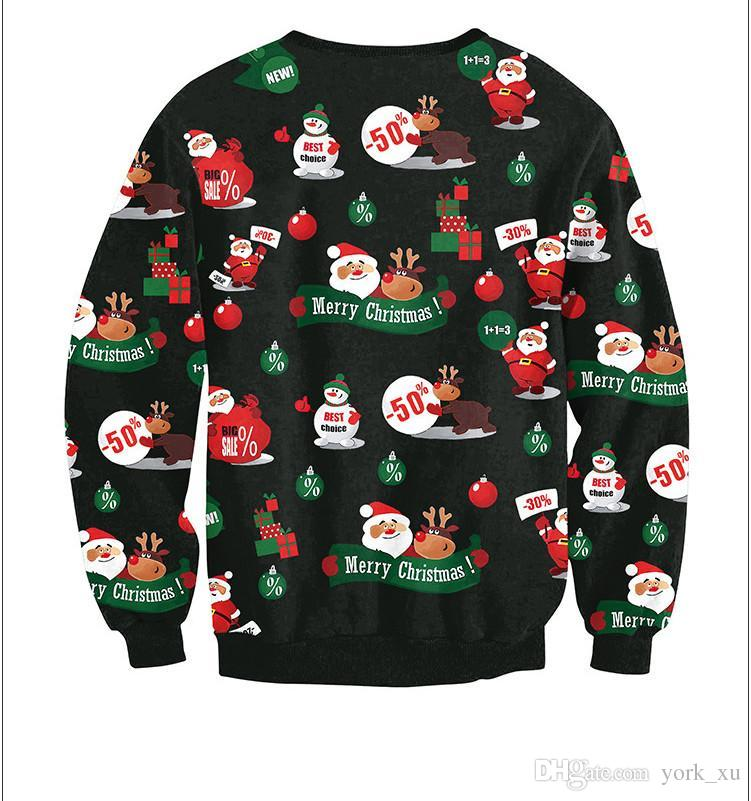 Discount Sweater Christmas Santa Claus Cute Print Pullover Sweater Jumper  Outwear Women'S Patterns Of Reindeer Snowman Christmas Ouc036 From China |  Dhgate.
