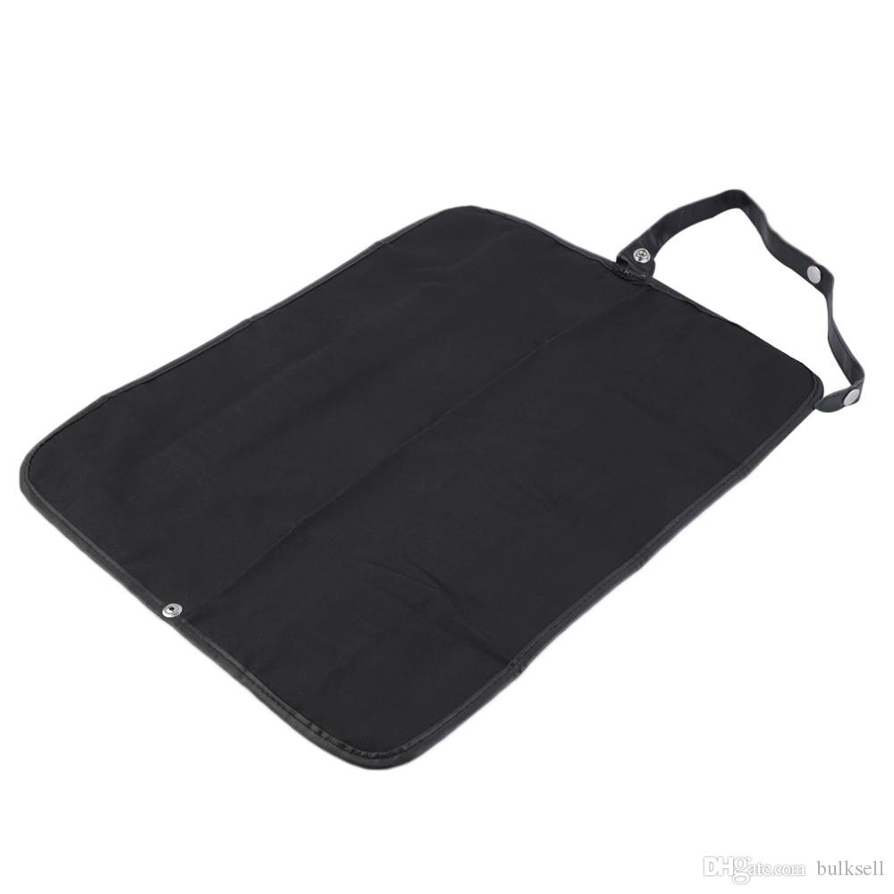 72 Holes Black Pencil Bag School Canvas Leather Edges Stationery Roll Pencil Case Sketch Pencil Brush Bag Kits Rolling Holders