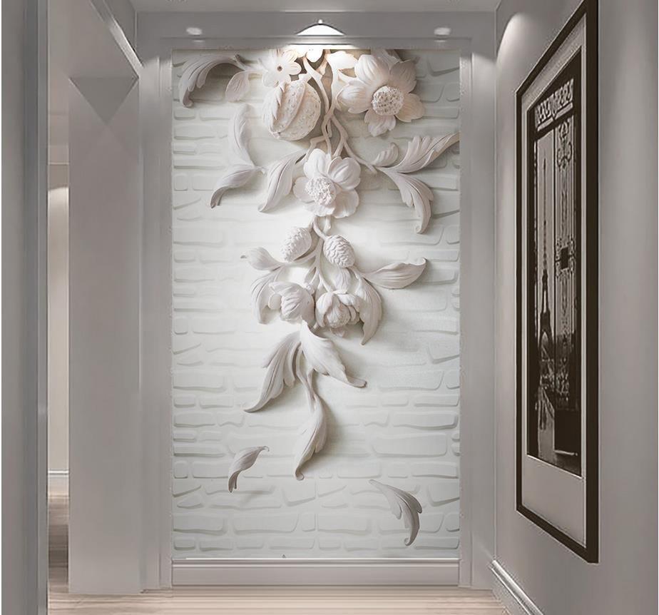 stereo 3d branco europeu em relevo entrada parede corredor volta tijolo mural 3d papel de parede 3d papéis de parede para TV pano de fundo