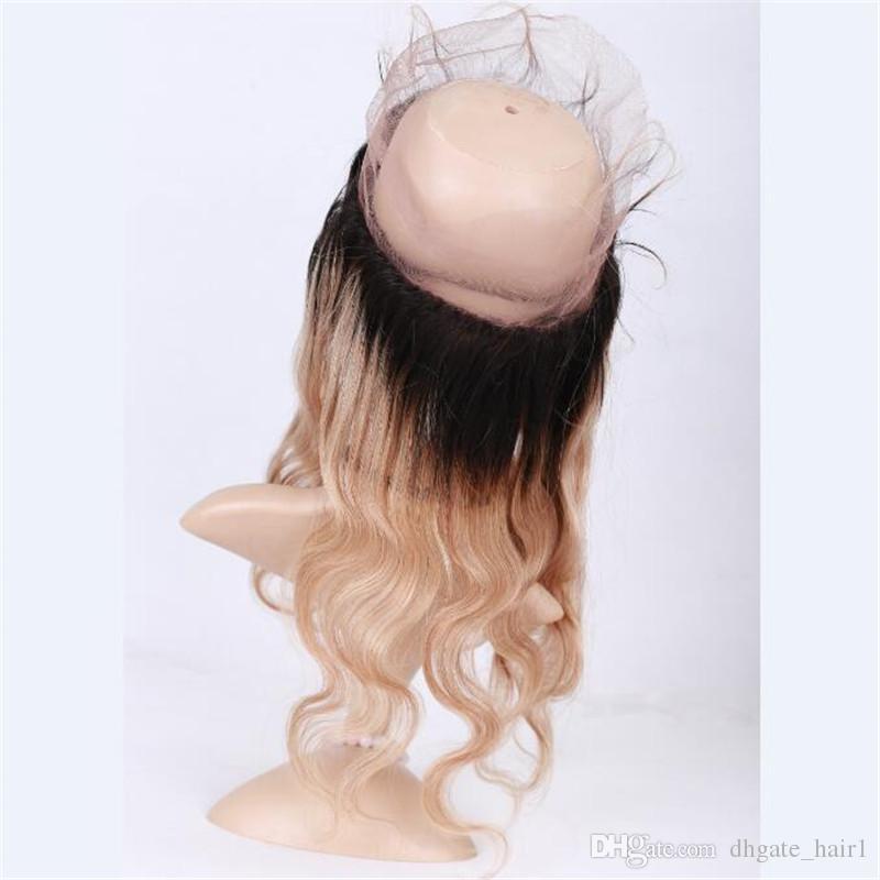1B / 27 Miel Blonde Ombre Brésilienne Vierge Cheveux Tisse Avec 360 Frontale Vague de Corps Dark Roots Brun Clair 360 Dentelle Fermeture Avec Bundles