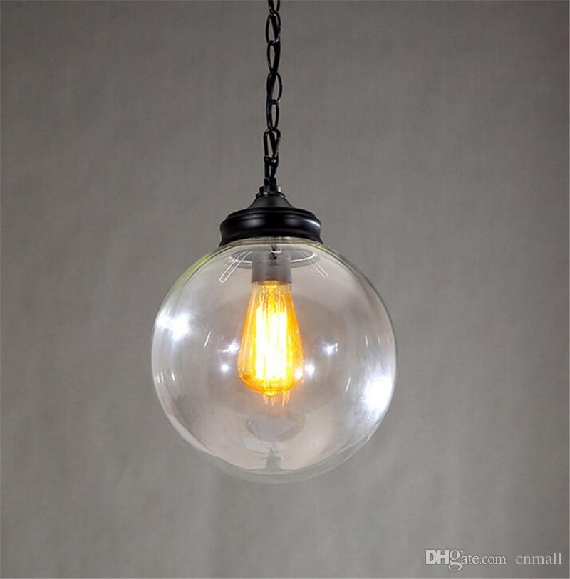 Minimalist Glass Ball Pendant Light Retro Style Iron Black Spray Paint Glass Lamp Shade Restaurant Cafe Bar Corridor E27 Holder MY4KEYPZVV