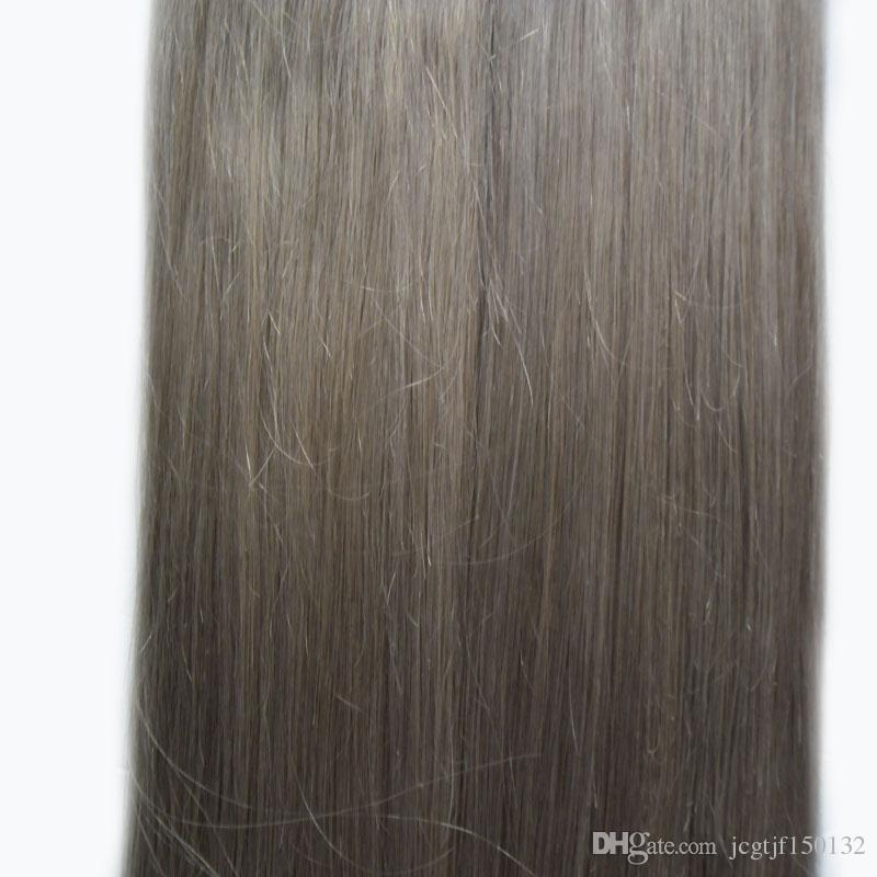 Brazillian Straight extensiones de cabello gris plateado 80 piezas extensiones de cabello humano virgen adhesivo 200g extensiones de cinta gris