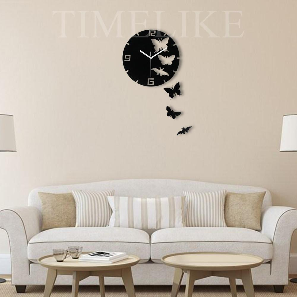 Wholesale Living Room Decorative Wall Sticker Clock Diy Acrylic Mirror Wall  Clock Butterfly Shape Creative Gift Art Watch Designer Clocks Online  Designer ...