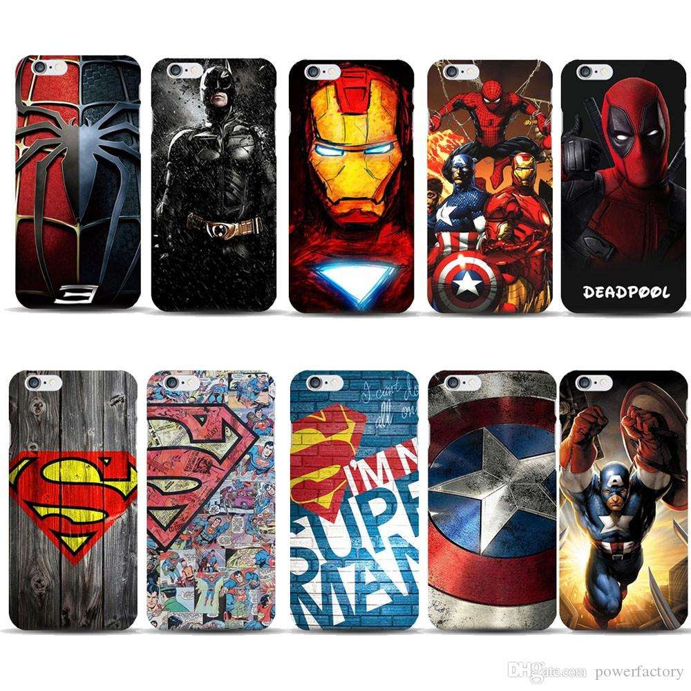 free shipping d6401 da1ed Marvel Avengers spiderman Captain America batman Hard PC Phone Case For  Iphone X Xs Max xr 8 7 6 6S Plus 5S 5C back cover