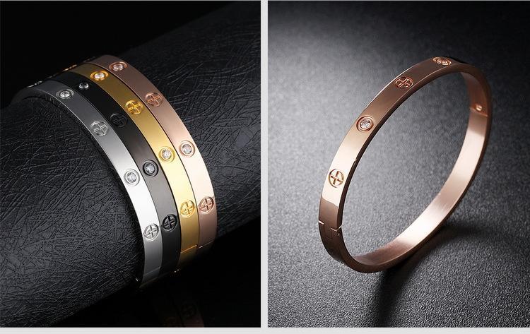 Cadeau de la Saint-Valentin Brand Bracelet d'amant Bangle d'or Rose Rose Bangliers Cristal Bangles Hommes Bijoux Croix Bijoux Tournevis Bangles 854