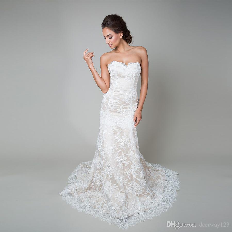 Trumpet Style Wedding Gowns: Trumpet Style Wedding Gown Champagne Base With Corded Lace