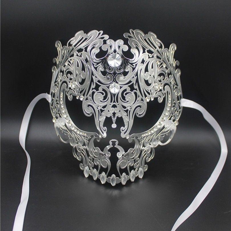 ac12c2c8511 Acheter Gros Noir Complet Visage Crâne Hommes Femmes Métal Coupés Au Laser  Argent Mascarade Parti Masques Or Balle Rouge Strass Bal Masque Vénitien De  ...