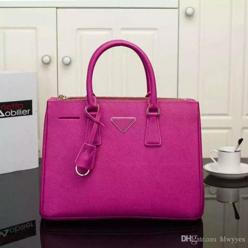 Wholesale- Fashion Brand Designer Women Handbag Genuine Leather OL Shoulder Bags Top Handle saffiano Bag high quality Lady Messenger Bag