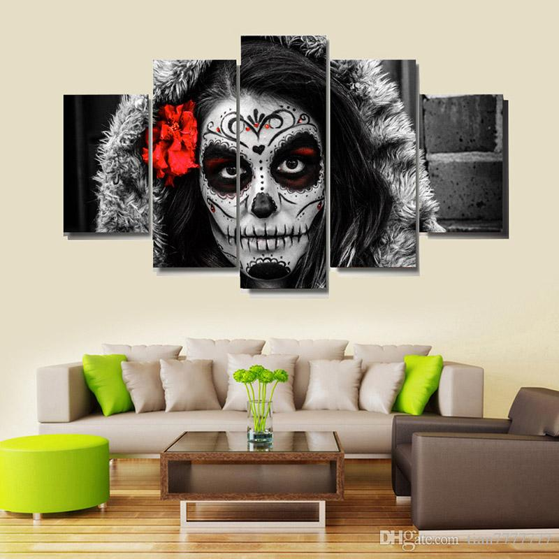 Day Of The Dead Wall Art 2017 high quality the day of the dead paintings on canvas 5 panel