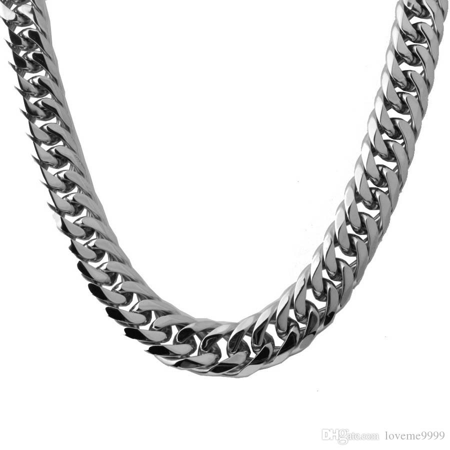 Hight quality Hip Hop Mens Steel Cuban Chain Necklace Silver Thick Stainless Steel Big Chunky Hippie Rock Men Dj Rapper ChainNecklaces