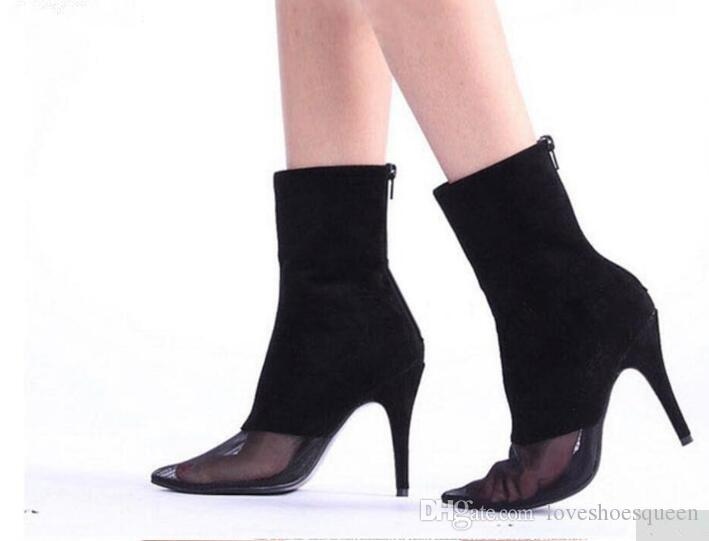 2017 Siyah süet patik sivri burun ankle boots İnce topuklu yüksek topuk hava bayanlar kısa çizmeler gerçek pics