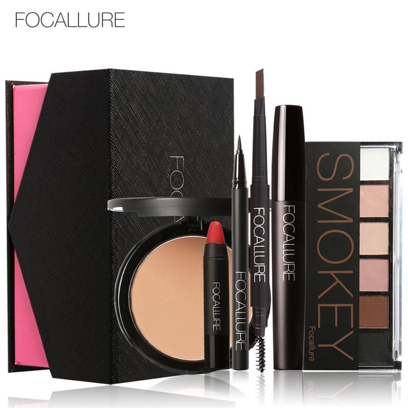Wholesale- FOCALLURE Cosmetics Makeup Sets Make Up Cosmetics Gift 6Pcs Daily Use Set Tool Kit Makeup Gift