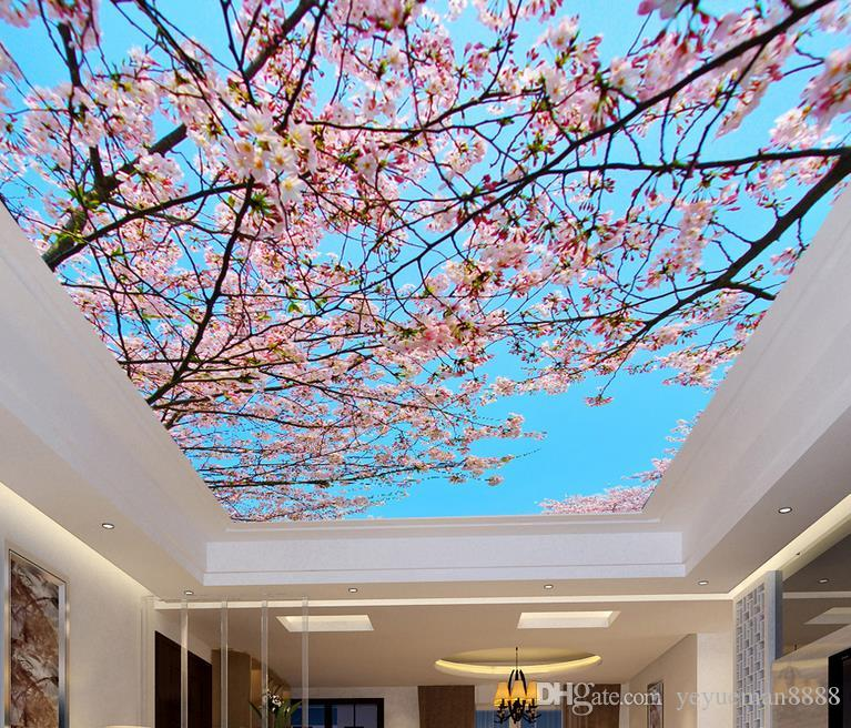 3d Ceiling Murals Wallpaper Custom Photo Wall Mural 3d Ceiling Blue Sky Cherry  Blossoms For Murals Wallpaper Living Room 3d Ceiling Free Wallpaper  Downloads ...