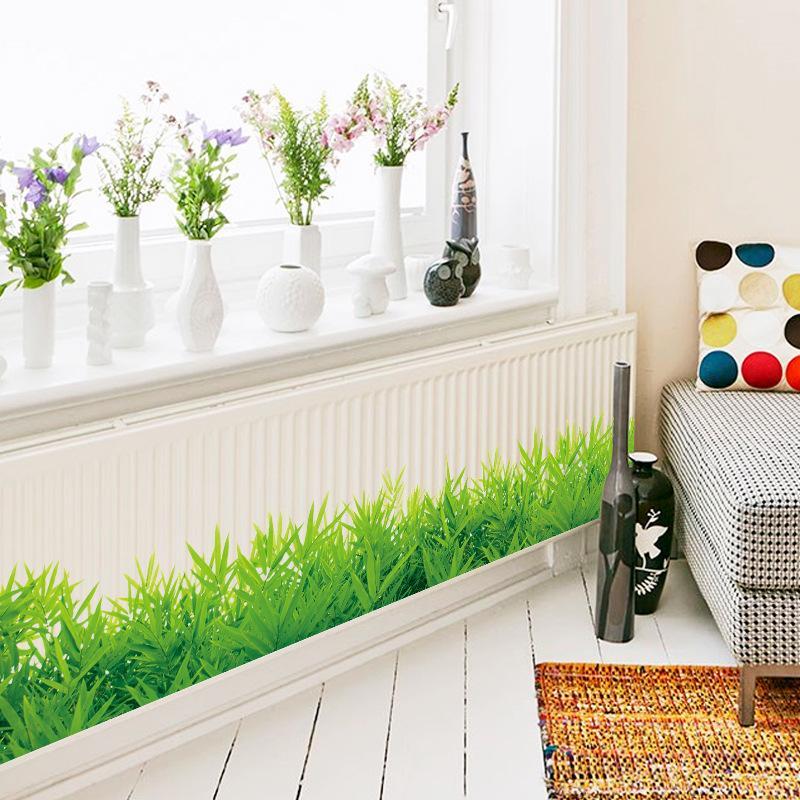 Spring Lush Green Grass Skirting Line Flora Diy Home Decor Wall - Wall decals grass