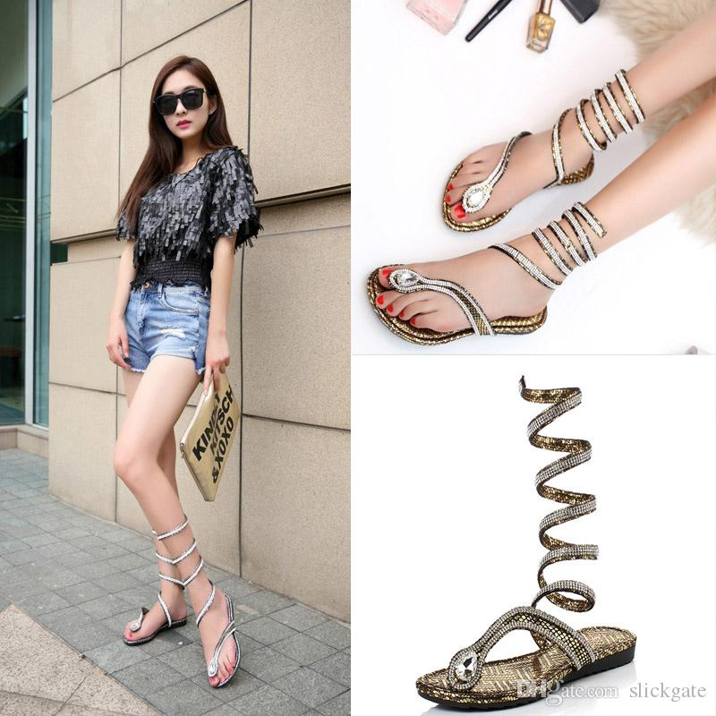 25f6c71d88a7 New Fashion Women Wrap Around Flat Sandals Women S Knee High Strappy  Crystal Rhinestone Gladiator Lace Up Thong Sandals C56Q Wedding Shoes  Wedges From ...