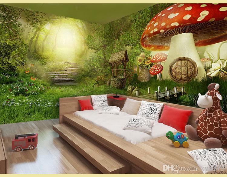 Märchen Wald Hintergrund Gästezimmer Wohnzimmer Tapete Retro Restaurant Ktv Bar Netto Café Zimmer entkommen Thema Tapete