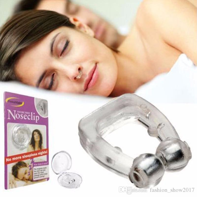 Silicona antirronquidos magnética Stop Ronquidos Clip de nariz Bandeja para dormir Ayuda para dormir Apnea Guard Dispositivo nocturno con estuche