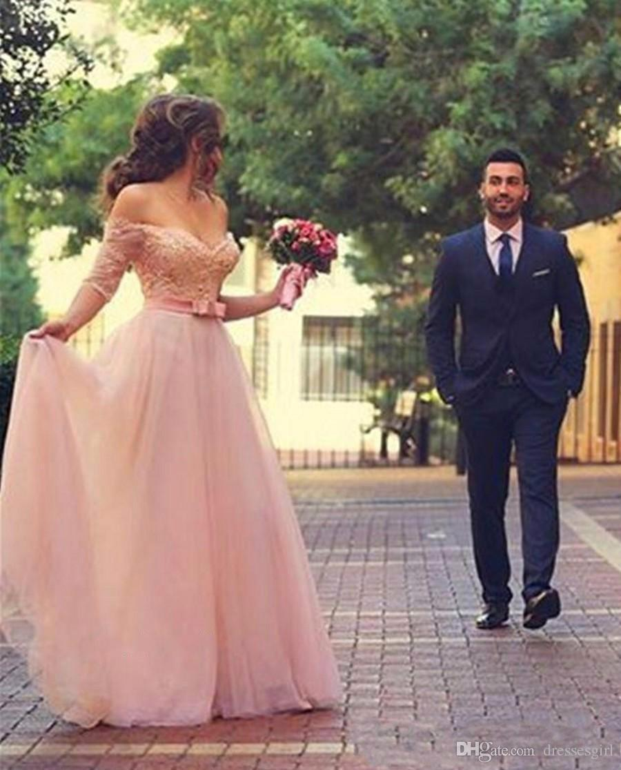 Custom Made Romantic Blush Pink Bridesmaid Dresses Tulle A line Long Backless Off the shoulder Plus Size Lace Bow Long Wedding Dress
